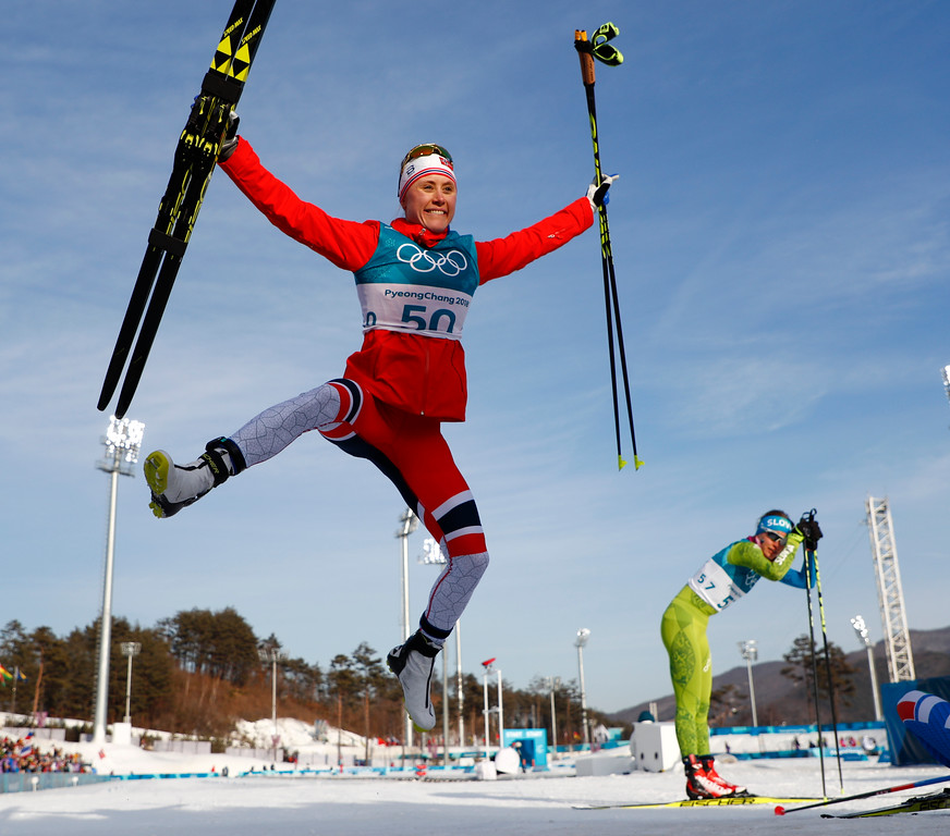 . Ragnhild Haga, of Norway, celebrates after winning the gold medal in the women\'s 10km freestyle cross-country skiing competition at the 2018 Winter Olympics in Pyeongchang, South Korea, Thursday, Feb. 15, 2018. (AP Photo/Matthias Schrader)