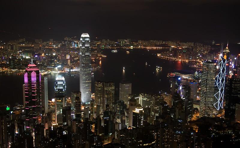 Hong Kong Skyline night from Victoria Peak, Hong Kong, China (11-8-08).psd