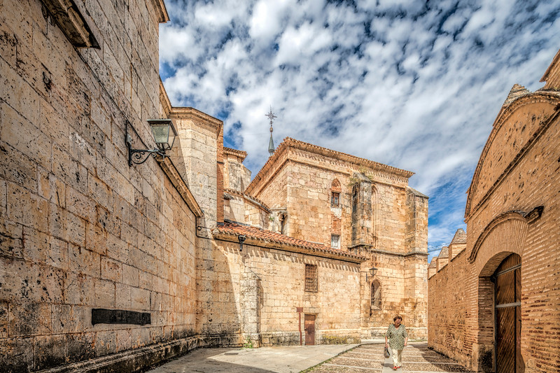 Santo Domingo street, with the Cathedral on the left, El Burgo de Osma, Soria, Spain
