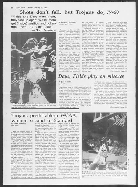Daily Trojan, Vol. 93, No. 31, February 25, 1983