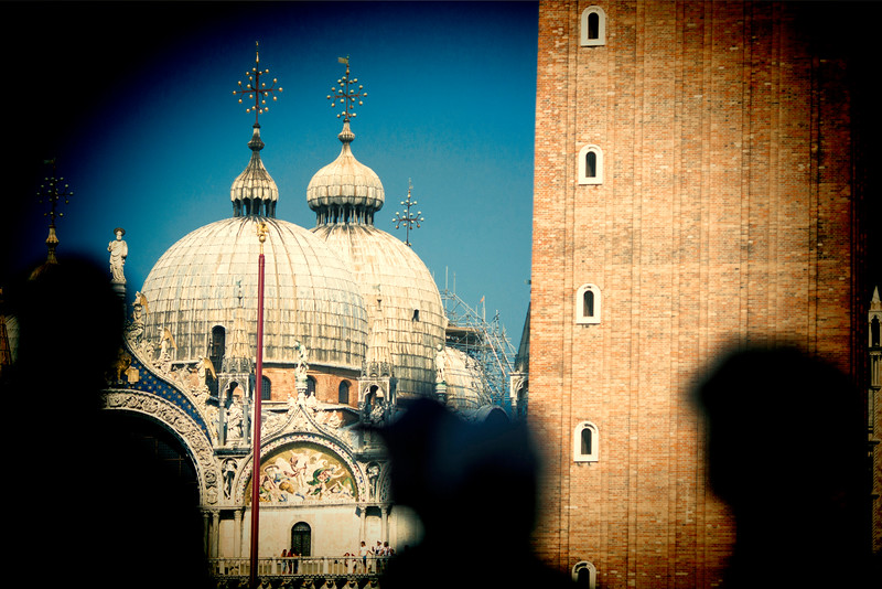 Silhouette of visitors in front of St Mark Basilica, Venice, Italy