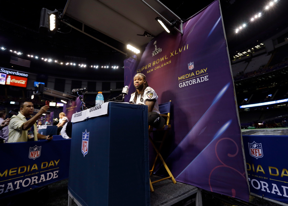 Description of . Baltimore Ravens wide receiver Torrey Smith speaks during media day for the NFL Super Bowl XLVII football game Tuesday, Jan. 29, 2013, in New Orleans. (AP Photo/Pat Semansky)