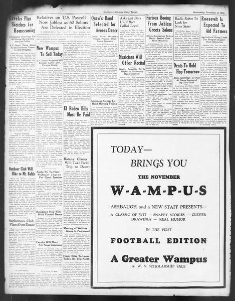 Daily Trojan, Vol. 24, No. 47, November 16, 1932