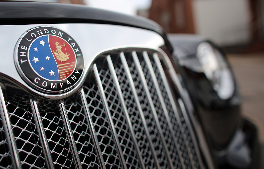 . Detail of the grille and insignia of a completed TX4 (Euro 5) London Taxi is seen inside the factory of The London Taxi Factory on September 11, 2013 in Coventry, England.  (Photo by Matt Cardy/Getty Images)