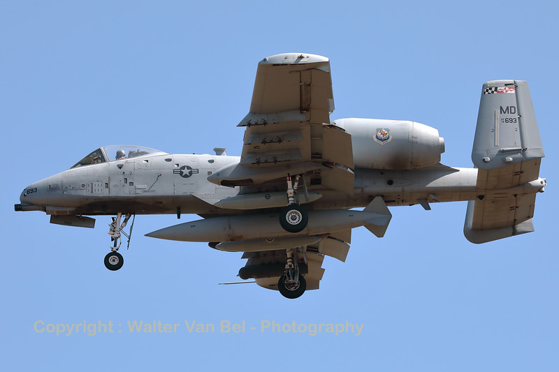 A USAF A-10C Thunderbolt II (78-0693; cnA10-0313) is seen here on final for RWY05 at ETAD. This A-10C belongs to the 175th Wing (175 WG), a unit of the Maryland Air National Guard, stationed at Warfield Air National Guard Base, Middle River, Maryland.