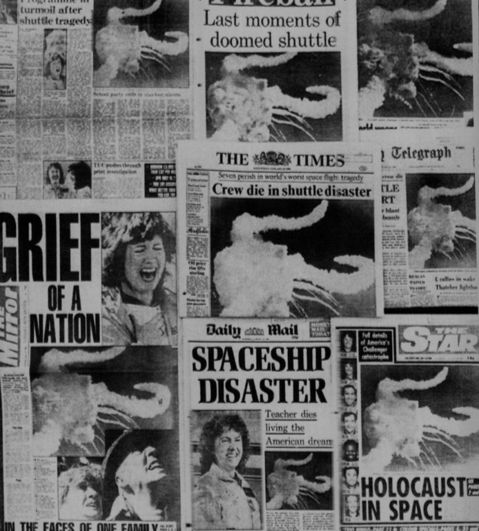 . Wednesday morning newspapers heading the American Space Shuttle disaster in London, Jan. 28, 1986. Denver Post Library Archive