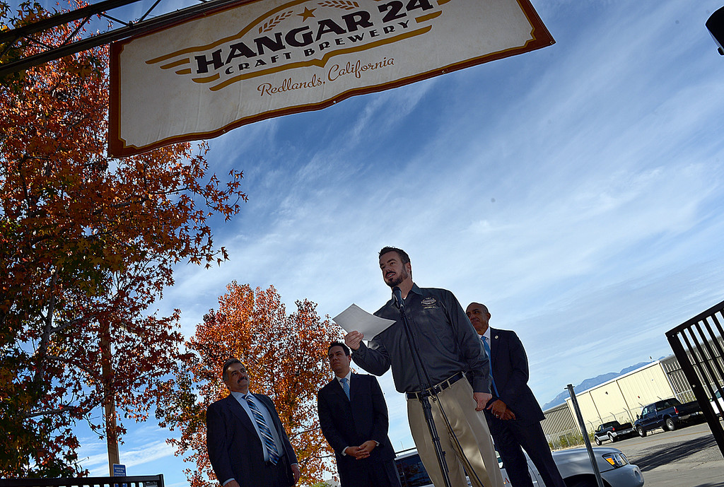 . Ben Cook, founder, owner and Master Brewer of Hanger 24 Brewery announces the kick off of Responsible Redlands Tuesday December 17, 2013 at the brewery. Local restaurants and businesses, like Hanger 24 Brewery and Redlands Cab Company, are teaming up with the City of Redlands, Redlands police department and the San Bernardino County District Attorney\'s office to help curb drunk driving in Redlands. From December 21, 2013 through January 1, 2014 Responsible Redlands will provide free rides home from local Redlands bar businesses, up to four miles. (Photo by Rick Sforza/Redlands Daily Facts)