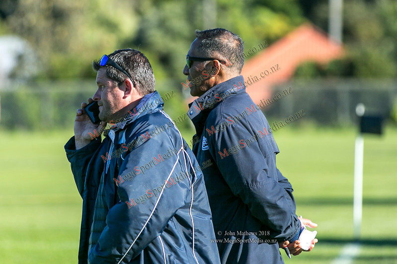 Petone coaches at the Wellington Premier reserve rugby union match (Harper Lock Shield) between Old Boys University RFC (white) and Petone RFC (blue) at Nairnville Park, Wellington, New Zealand on 2 June 2018.    SCORE : Petone 17; OBU 24 Copyright John Mathews 2018 http://www.megasportmedia.co.nz