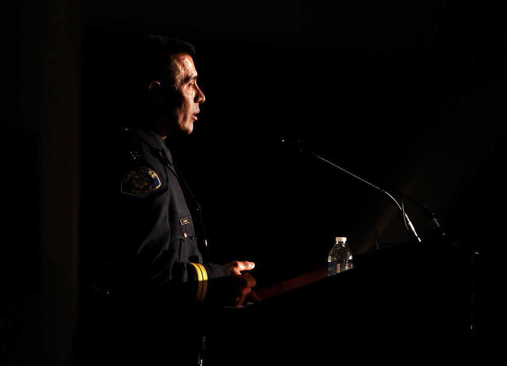 . Chief of Police Larry Esquivel speaks to the Officer Recruits at the San Jose Police Academy graduation in San Jose, Calif. on Friday, March 15, 2013.   (LiPo Ching/Staff)