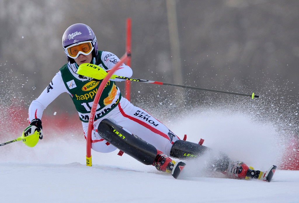 . Michaela Kirchgasser of Austria clears a gate during the first run of the Alpine Skiing World Cup women\'s slalom ski race in Maribor January 27, 2013. REUTERS/Srdjan Zivulovic