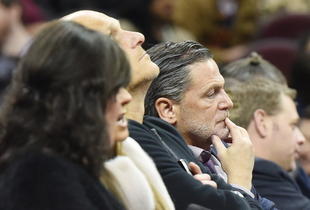. Michael Allen Blair-The News-Herald Cavs\' team owner Dan Gilbert looks on late in the fourth quarter of the Cavs vs. Warriors game Jan. 18 at Quicken Loans Arena. The game was a complete blowout by the Warriors 132-98.