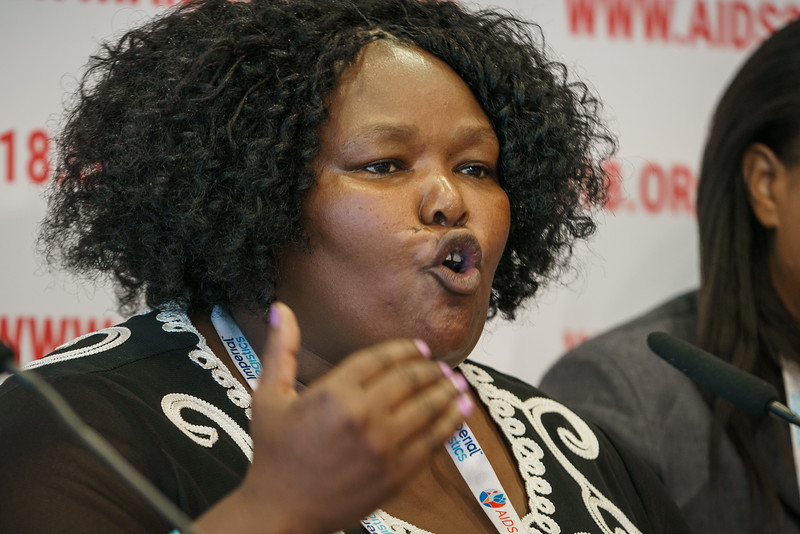 22nd International AIDS Conference (AIDS 2018) Amsterdam, Netherlands.   Copyright: Matthijs Immink/IAS  PRESS CONFERENCE Sex Workers & End Demand Policies  On the photo:  Duduzile (Dudu) Dlamini  O'Cindy Cynthia Samuels