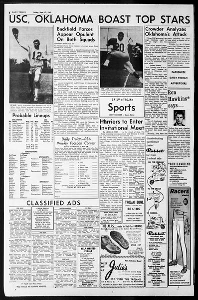 Daily Trojan, Vol. 55, No. 5, September 27, 1963
