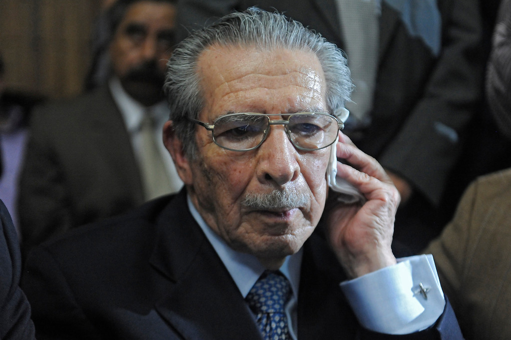 . Former Guatemalan de facto President (1982-1983), retired General Jose Efrain Rios Montt, 86, gestures after listening his sentence during the trial against him on charges of genocide committed during his regime, in Guatemala City, on May 10, 2013. Rios Montt was found guilty of genocide and war crimes on Friday in a landmark ruling stemming from massacres of indigenous people in his country\'s long civil war. Rios Montt thus became the first Latin American convicted of trying to exterminate an entire group of people in a brief but particularly gruesome stretch of a war that started in 1960, lasted 36 years and left around 200,000 people dead or missing. JOHAN ORDONEZ/AFP/Getty Images