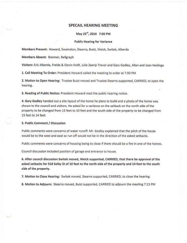 May 2016 Special Hearing Minutes