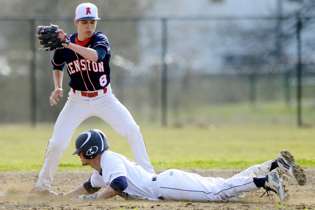 . Maribeth Joeright/MJoeright@News-Herald.com<p> West Geauga\'s Mike Koller steals second, beating the throw to Kenston\'s Sam Obringer.