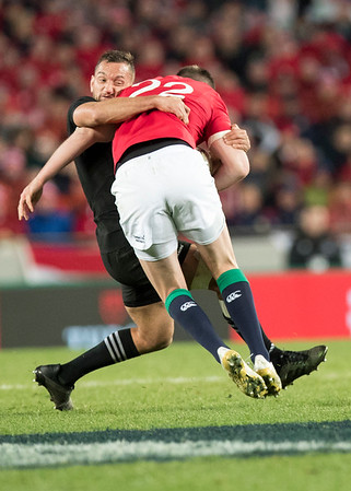 Jonathan Sexton tackled by  Aaron Cruden  during game 7 of the British and Irish Lions 2017 Tour of New Zealand, the first Test match between  The All Blacks and British and Irish Lions, Eden Park, Auckland, Saturday 24th June 2017 (Photo by Kevin Booth Steve Haag Sports)  Images for social media must have consent from Steve Haag