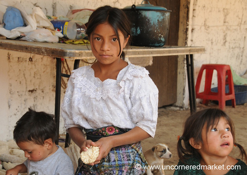 Children Cleaning Corn - Guatemala City, Guatemala
