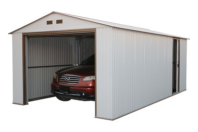 Imperial Metal Garage Off White Brown 12x26