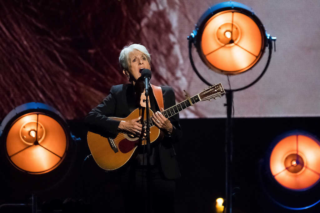 . Inductee Joan Baez performs at the 2017 Rock & Roll Hall of Fame induction ceremony at the Barclays Center on Friday, April 7, 2017, in New York. (Photo by Charles Sykes/Invision/AP)