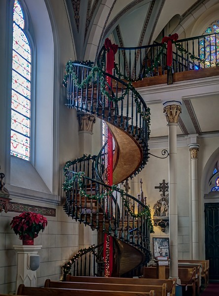 Loretta Chapel in Santa Fe. This is a famous unsupported spiral staircase.