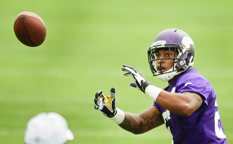 . Minnesota Vikings running back Joe Banyard  catches a pass at Vikings training camp in Mankato, Minn., on Friday, July 26, 2013. (Pioneer Press: Ben Garvin)