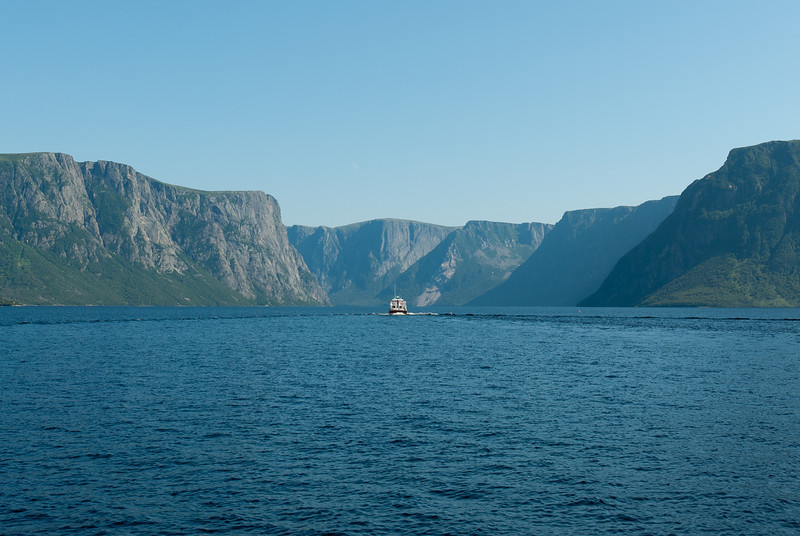 Panorama of Western Brook Pond and valley in Gros Morne National Park