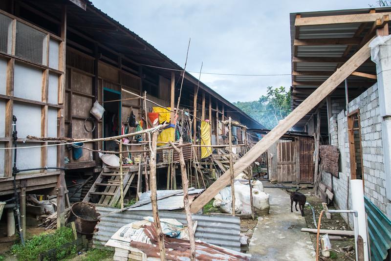 Outside Nanga Sumpa Longhouse