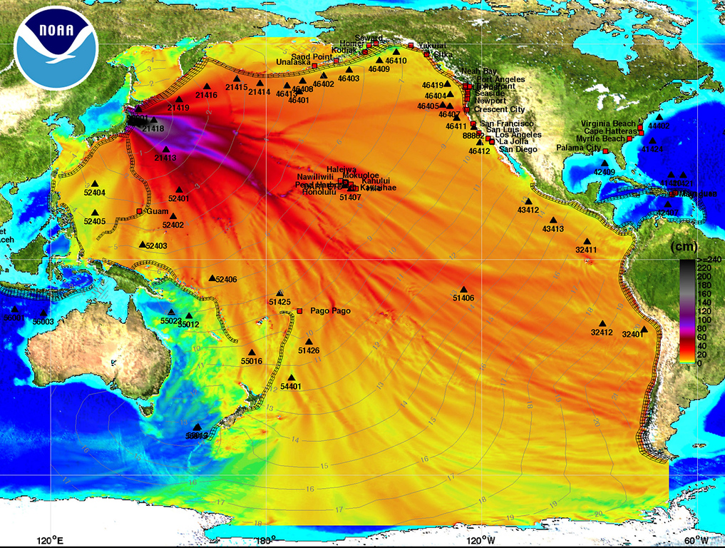 . In this handout image provided by the National Oceanic and Atmospheric Administration (NOAA), model amplitudes calculated with the  MOST forecast model are seen March 11, 2011. Filled colors show maximum computed tsunami amplitude in cm during 24 hours of wave propagation. Black contours show computed tsunami arrival time. A magnitude 8.9 strong earthquake hit the northeast coast of Japan causing Tsunami alerts throughout countries bordering the Pacific Ocean.  (Photo by NOAA Center for Tsunami Research via Getty Images)