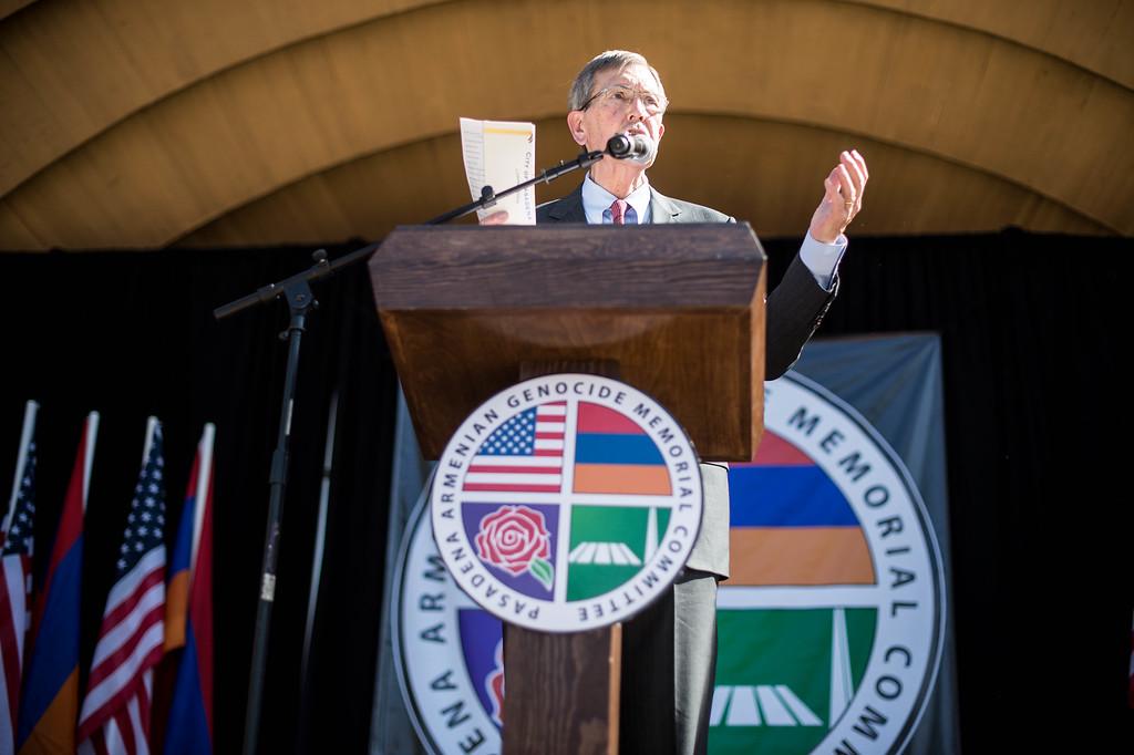 . Mayor Bill Bogaard speaks during the unveiling ceremony of The Pasadena Armenian Genocide Memorial at Memorial Park Saturday, April 18, 2015. (Photo by Sarah Reingewirtz/Pasadena Star-News)