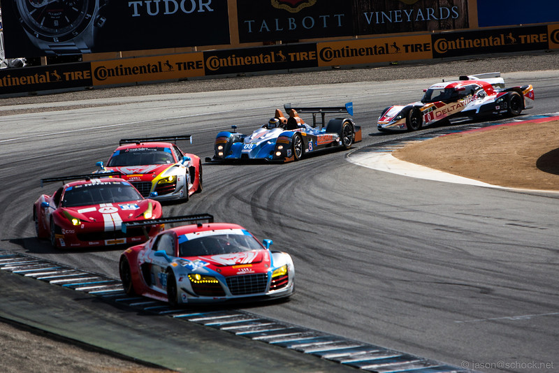 Mixed class of GT and Prototype cars at Turn 11.