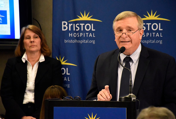 6/8/2018 Mike Orazzi | Staff Connecticut Hospital Association's Ellen Crowe and Carl Schiessl during the Hospitals Against Violence Day held at Bristol Hospital Friday morning.