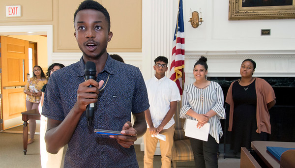 08/16/19 Wesley Bunnell | Staff TRIO, a two week long summer program run by CCSU in science and arts held their closing ceremony on Friday August 16, 2019 at Founders Hall at CCSU. Emmanuel Nwosu , a rising Senior at NBHS, speaks regarding the importance of the program as fellow participants look on.