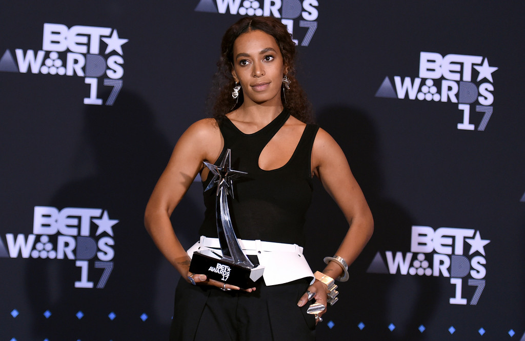 . Solange Knowles, winner of the BET Centric award, poses in the press room at the BET Awards at the Microsoft Theater on Sunday, June 25, 2017, in Los Angeles. (Photo by Richard Shotwell/Invision/AP)