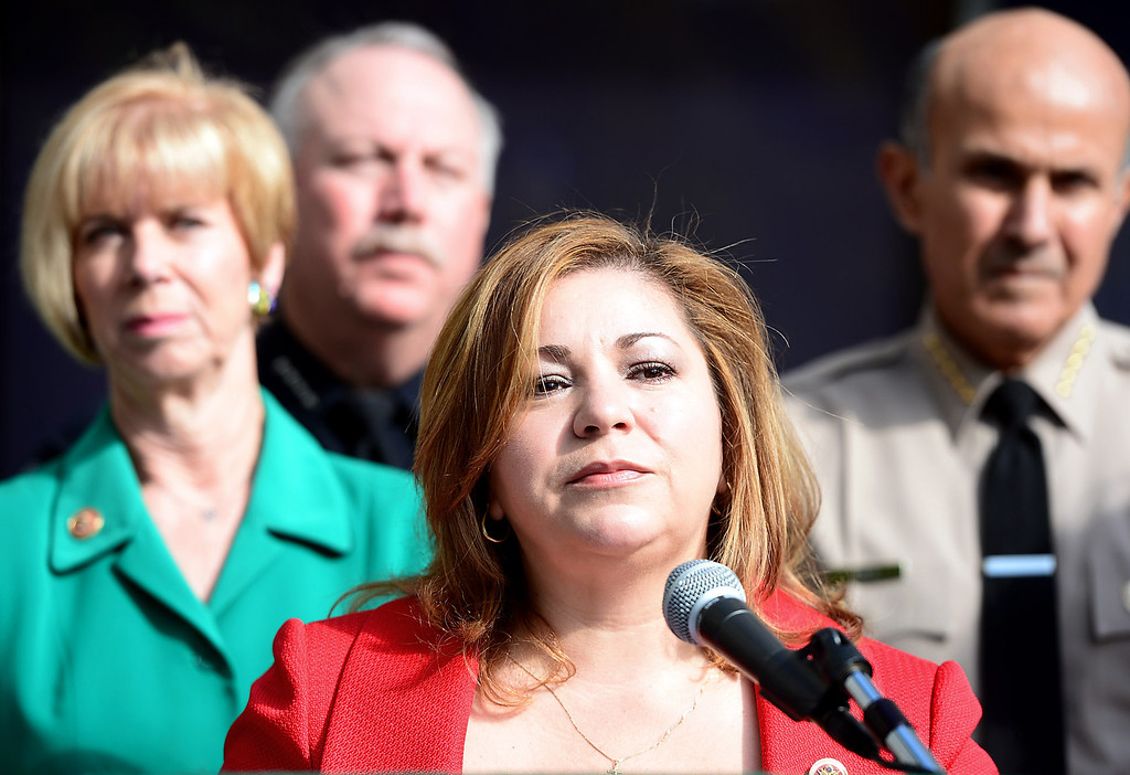 . Congresswoman Linda Sanchez speaks to the press with Congresswoman Janice Hahn, Montebello Police Chief Kevin McClure and Los Angeles County Sheriff Lee Baca announcing her introduction of legislation to assist law enforcement with gun buyback programs Thursday, February 21, 2013 at Los Angeles County Sheriff\'s Headquarters. (SGVN/Staff Photo by Sarah Reingewirtz)