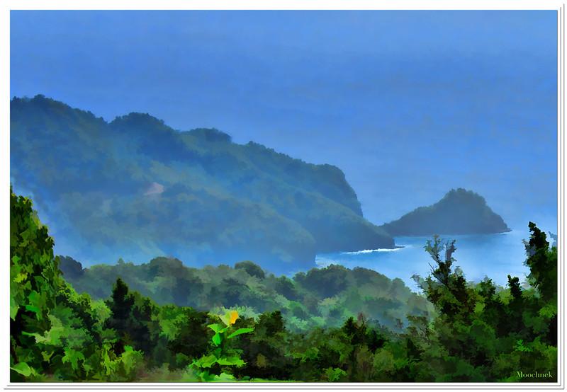 Blue morning on the coastline