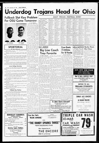 Daily Trojan, Vol. 52, No. 10, September 30, 1960