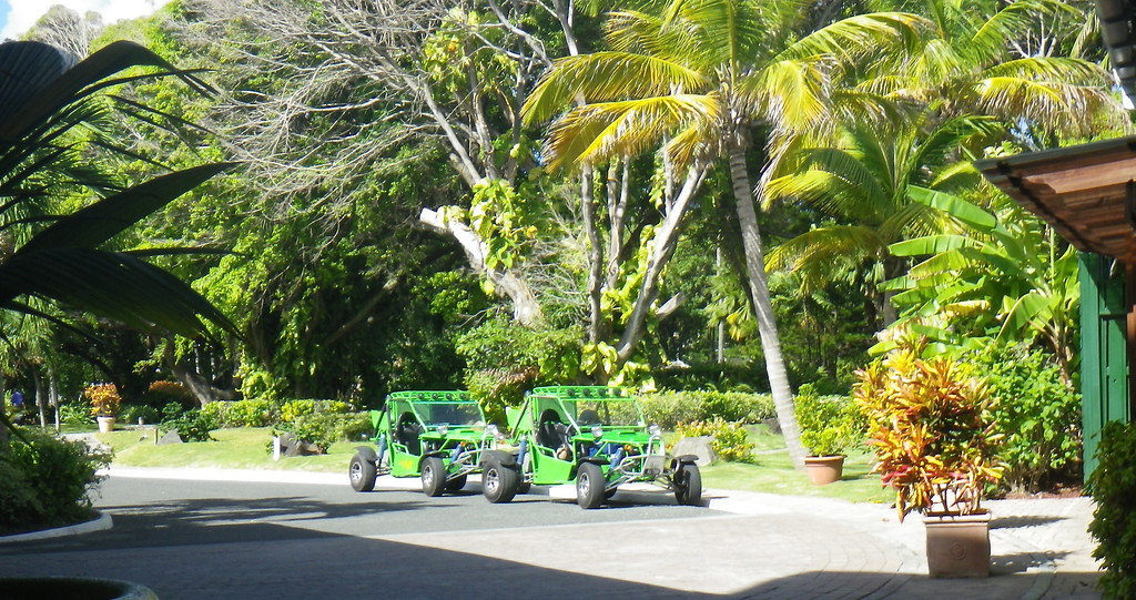 . Janet Podolak/JPodolak@News-Herald.com<p>                                                                           Dune buggies await off the Coconut Bay lobby for guests who have signed up for off-road back country tours.
