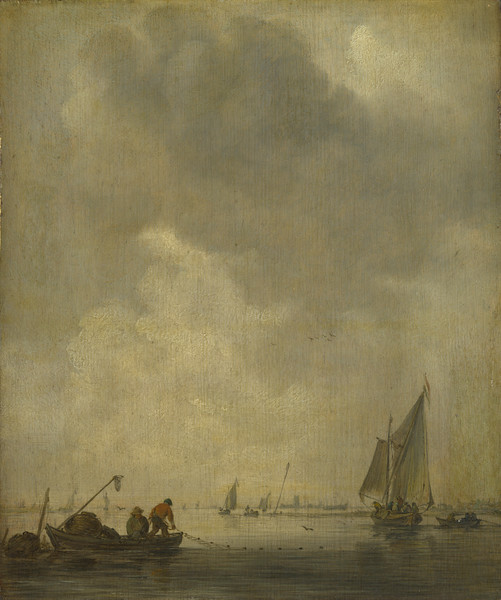 A River Scene, with Fishermen laying a Net
