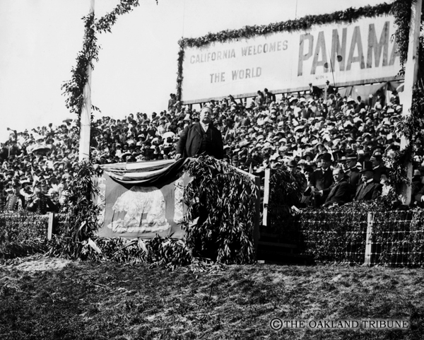 """. San Francisco, CA October 14, 1911 - President William Howard Taft speaks at the ground breaking of the Panama Canal at the Panama Pacific International Exposition. (E. A. \""""Doc\"""" Rogers / Oakland Tribune Staff Archives)"""