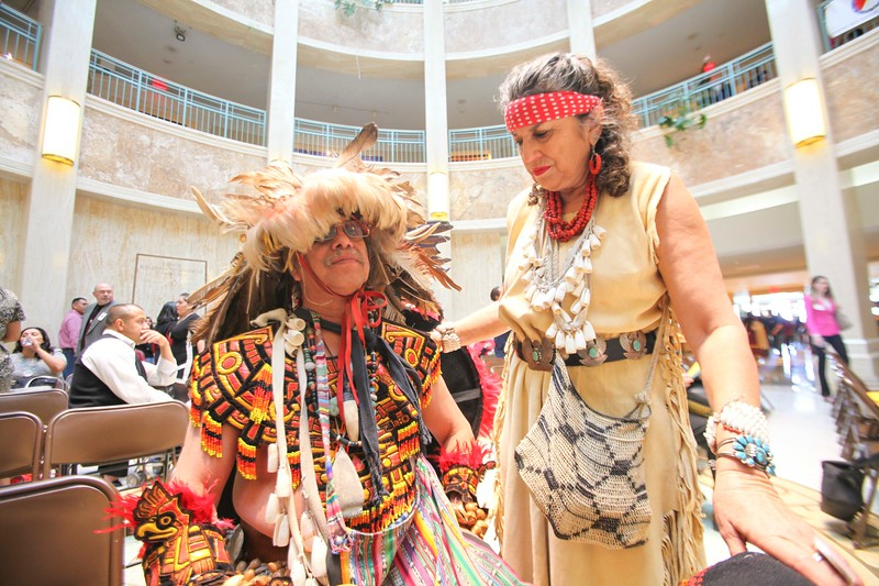 Groups of Native American dancers performed at the Roundhouse on Friday Febuary 2, 2018. Groups from Santa Clara and Pojoaque Pueblos danced to celebrate American Indian day. The dance group, Los Comanches de la Serna of the Cristobal de la Serna Land Grant, performed to commemorate the 170th anniversary of the treaty of Guadalupe Hidalgo. Gabriela Campos/The New Mexican