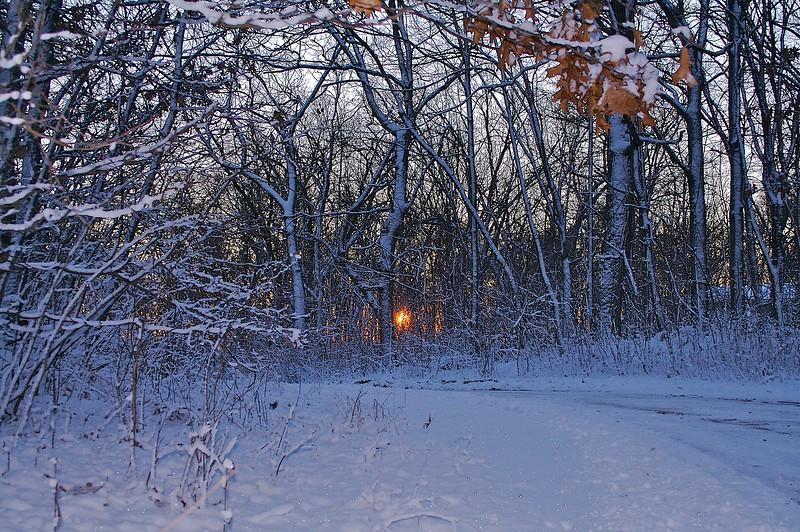 Sunrise with fresh snow.