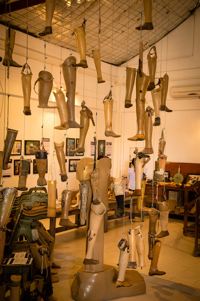 Prosthetic legs of cluster bomb victims at COPE museum in Vientiane, Laos