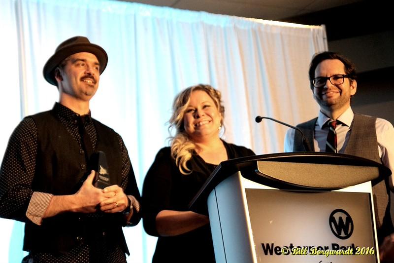 Darren Gusnowsky, Stacie Roper, Rob Shapiro - Hey Romeo - Presenters - ACMA Awards Show 2016 0367