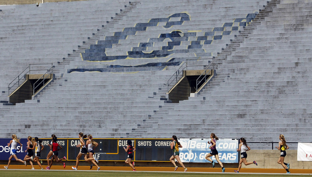 . Athletes compete in the girls 3200 meter final at the North Coast Section Meet of Champions at Cal\'s Edwards Stadium in Berkeley, Calif., on Saturday, May 25, 2013. (Anda Chu/Bay Area News Group)