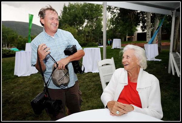 Photojournalist Paul Conrad with former Supreme Court justice Sandra Day-)'Conner