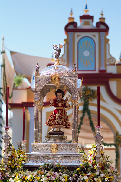 Silver float with Baby Jesus, Corpus Christi procession, Seville, Spain, 2009.