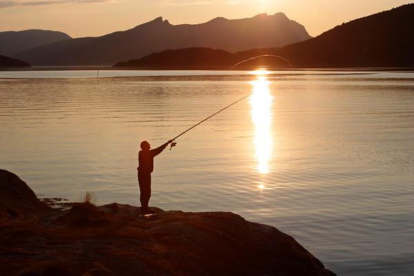 Angling at sunset