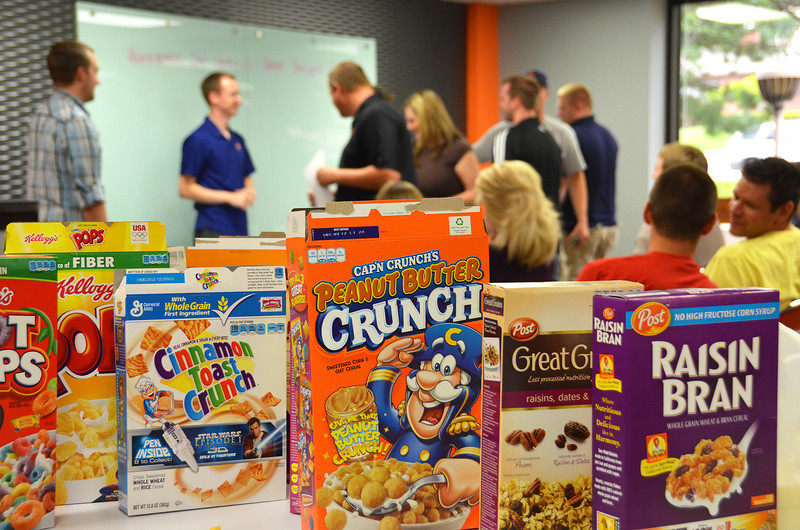 2012-7-12 ––– Our support & training department had a team meeting to give out achievement awards. As part of the meeting there was an all you can eat cereal feast. A little out of the ordinary, but everyone had fun. I would have gone for the Peanut Butter Crunch.