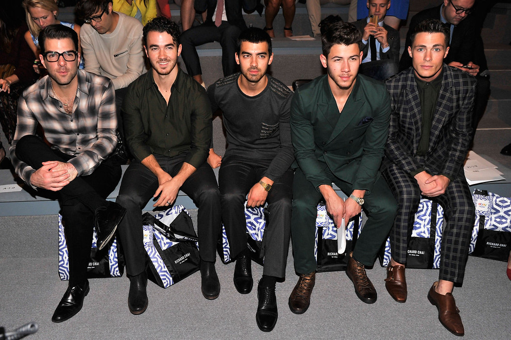 . Zachary Quinto, Kevin Jonas, Nick Jonas, Joe Jonas and Colton Haynes attend the Richard Chai Spring 2014 fashion show during Mercedes-Benz Fashion Week at The Stage at Lincoln Center on September 5, 2013 in New York City.  (Photo by Stephen Lovekin/Getty Images for Mercedes-Benz Fashion Week)